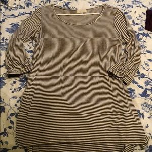 Gray and white stripe maternity top